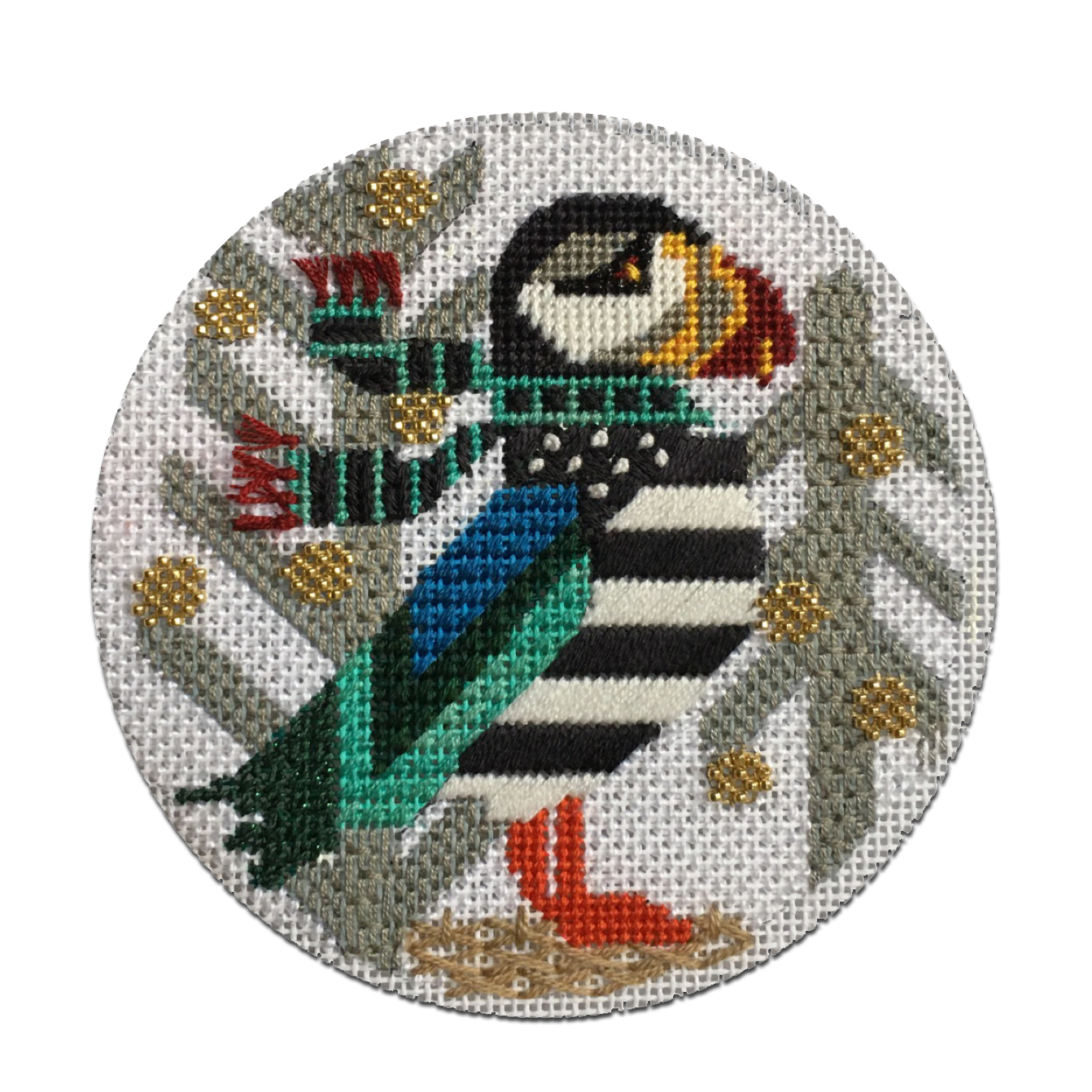 Puffin stitched by Janeann Sleeman - Design by Melissa Prince