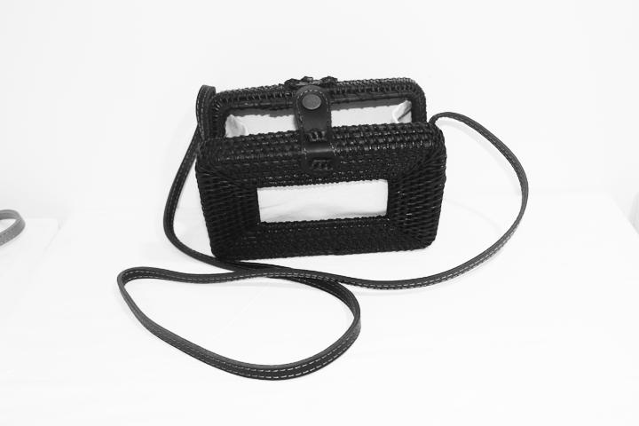 Rattan Rectangle Bag Black