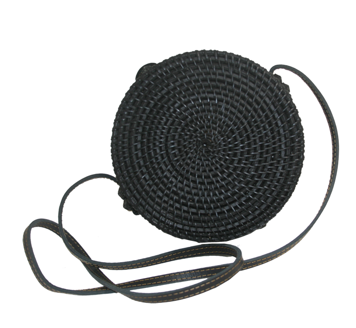 Rattan Round Bag Black - Back